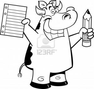 14882472-illustrazione-in-bianco-e-nero-di-una-mucca-in-possesso-di-un-carta-e-matita